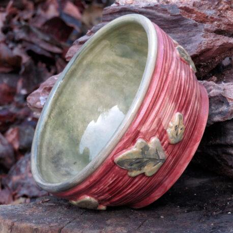 сeramic-bowl-brown-color-with-leaves